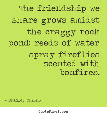 Quotes about friendship - The friendship we share grows amidst the craggy rock pond; reeds..