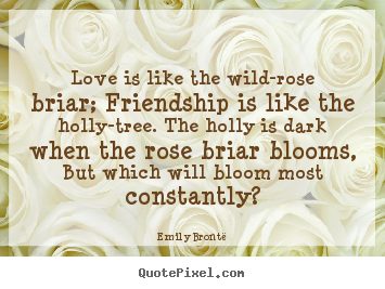 Make personalized picture quotes about friendship - Love is like the wild-rose briar; friendship is like the holly-tree...