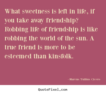 Quote about friendship - What sweetness is left in life, if you take away friendship?..