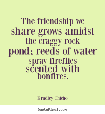 Bradley Chicho picture quotes - The friendship we share grows amidst the craggy.. - Friendship quote