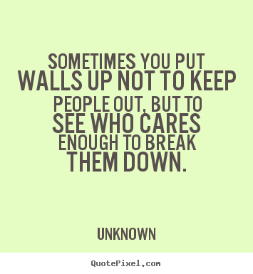Friendship quotes - Sometimes you put walls up not to keep people out, but to see..
