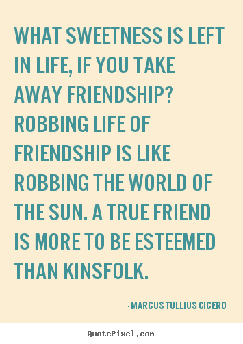 Design your own picture quotes about friendship - What sweetness is left in life, if you take away friendship? robbing..