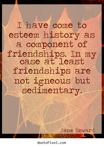 Friendship quote - I have come to esteem history as a component of friendships...