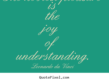 The noblest pleasure is the joy of understanding. Leonardo Da Vinci  friendship quotes