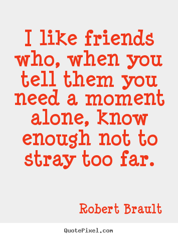 Quote about friendship - I like friends who, when you tell them you need a moment..