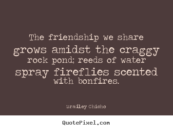 Friendship quotes - The friendship we share grows amidst the craggy rock pond;..