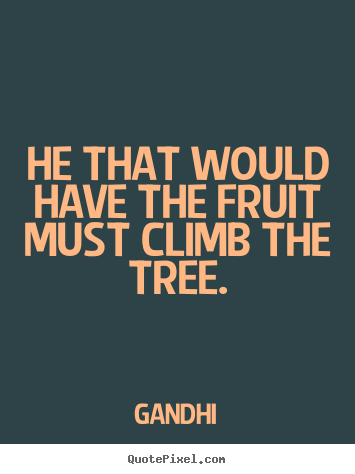 Inspirational quote - He that would have the fruit must climb the tree.