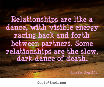 Make personalized picture quotes about inspirational - Relationships are like a dance, with visible energy racing back..