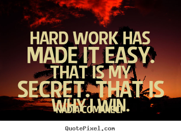 Inspirational quote - Hard work has made it easy. that is my secret. that is why i win.