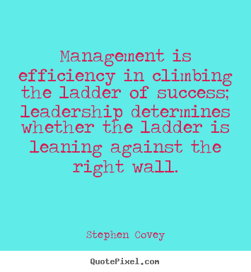 Management is efficiency in climbing the ladder of success;.. Stephen Covey best inspirational sayings