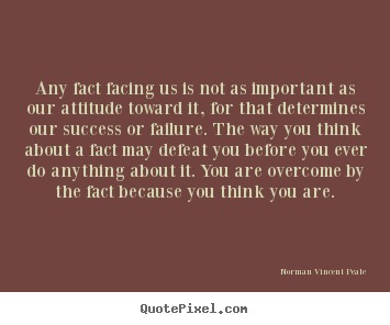 Norman Vincent Peale pictures sayings - Any fact facing us is not as important as our attitude.. - Inspirational quotes