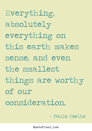 Everything, absolutely everything on this earth makes sense,.. Paulo Coelho  life quotes