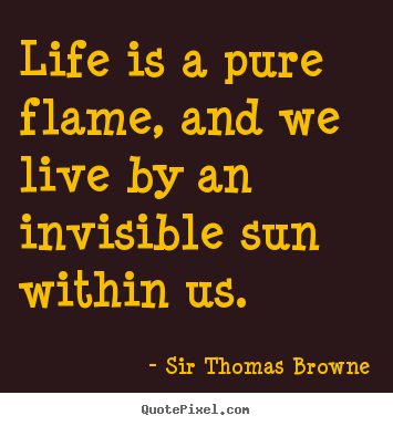 Life quote - Life is a pure flame, and we live by an invisible sun within..