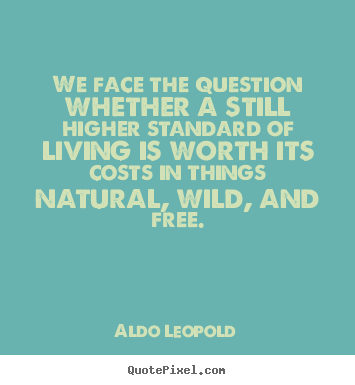 We face the question whether a still higher standard of living.. Aldo Leopold good life sayings