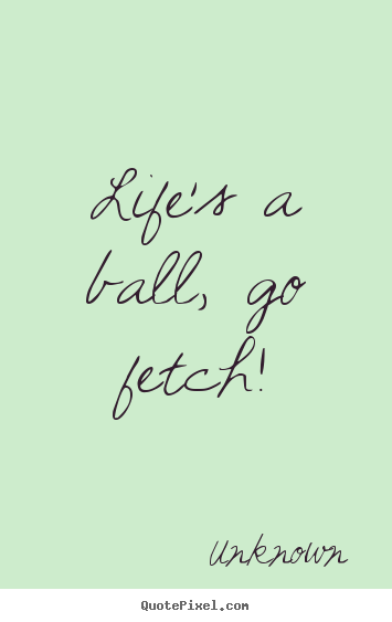 Unknown picture quotes - Life's a ball, go fetch! - Life quote