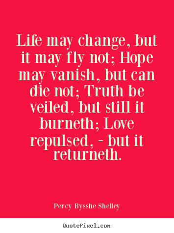 Design photo quotes about life - Life may change, but it may fly not; hope may vanish,..