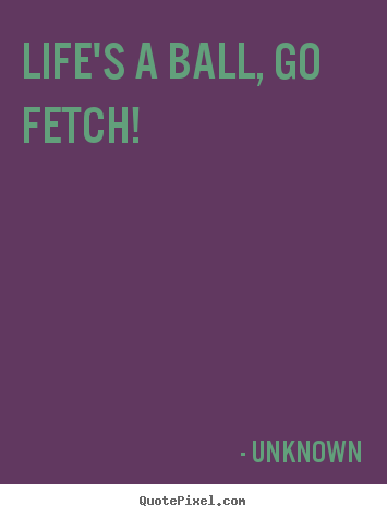 Unknown photo quotes - Life's a ball, go fetch! - Life quotes