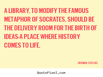 Create custom picture quotes about life - A library, to modify the famous metaphor of socrates, should..