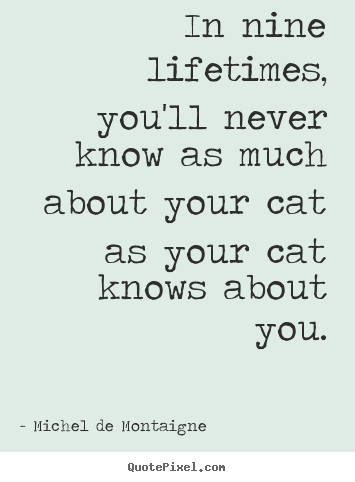 Make custom picture quotes about life - In nine lifetimes, you'll never know as much..