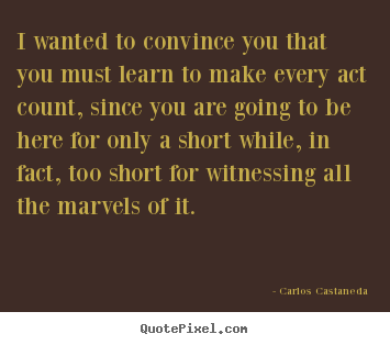 Carlos Castaneda picture quotes - I wanted to convince you that you must learn to make.. - Life quote