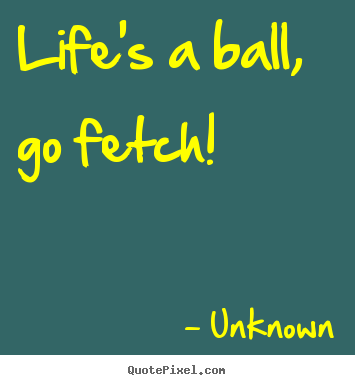 Unknown picture quote - Life's a ball, go fetch! - Life quotes