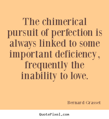 Love quotes - The chimerical pursuit of perfection is always linked to some important..