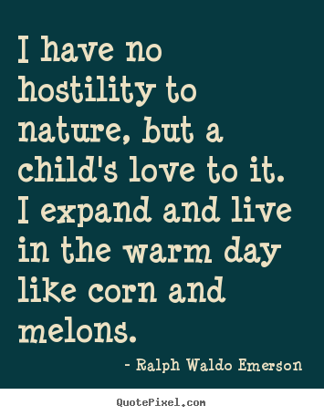 Love quotes - I have no hostility to nature, but a child's..
