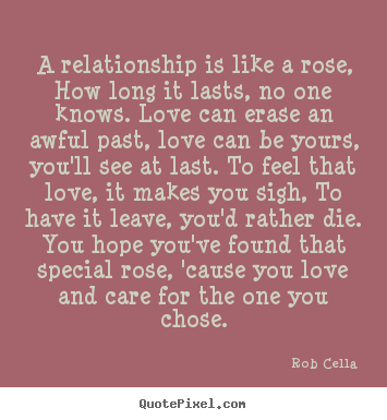 Design custom picture quote about love - A relationship is like a rose, how long it lasts,..