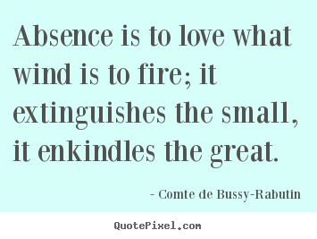 Create picture quotes about love - Absence is to love what wind is to fire; it extinguishes the small,..