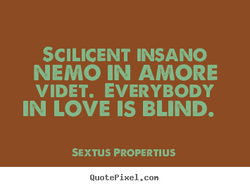 Love quote - Scilicent insano nemo in amore videt. everybody in love is blind.