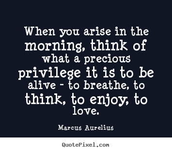 Love quote - When you arise in the morning, think of what a precious privilege..