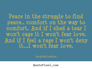 Peace in the struggle to find peace.. comfort on the way to.. Sarah McLachlan great love quotes