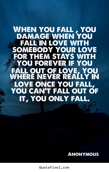 Diy picture quotes about love - When you fall , you damage when you fall in love..