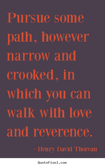 Henry David Thoreau photo quotes - Pursue some path, however narrow and crooked,.. - Love quotes