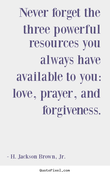 Create graphic picture quote about love - Never forget the three powerful resources you always..