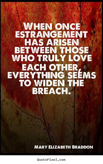 Create graphic picture quote about love - When once estrangement has arisen between those who truly..