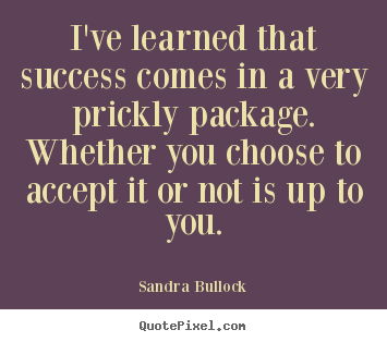 Quotes about success - I've learned that success comes in a very prickly package...