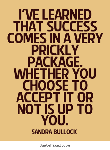 Create your own picture quotes about success - I've learned that success comes in a very prickly package...