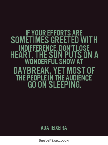 Ada Teixeira photo quotes - If your efforts are sometimes greeted with indifference,.. - Success quotes