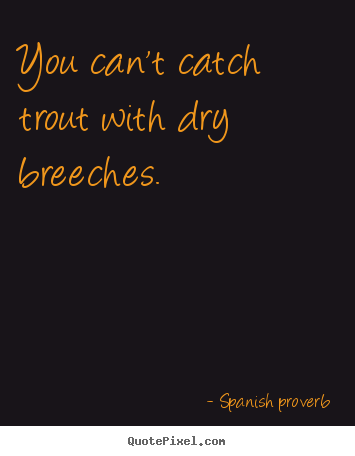 Spanish Proverb picture quotes - You can't catch trout with dry breeches. - Success quote