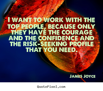 James Joyce picture quotes - I want to work with the top people, because only they have the courage.. - Success quotes
