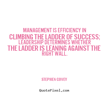 Stephen Covey picture quote - Management is efficiency in climbing the ladder of success; leadership.. - Success quote