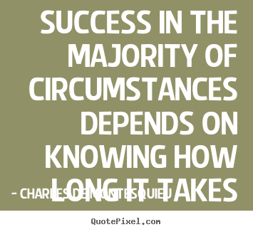 Success quotes - Success in the majority of circumstances depends on knowing how long..